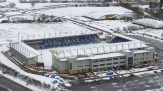 Colchester United's stadium in snow