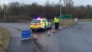 Police cordon on an A14 slip road