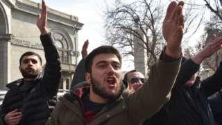 Anti-Pashinyan protesters, 25 Feb 21