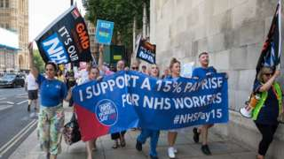 Protestors calling for a 15% pay rise