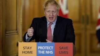 Boris Johnson at one of the coronavirus briefings