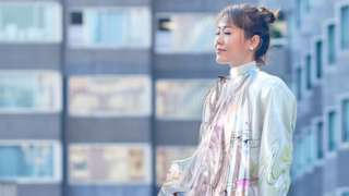 Mary Ren in digital dress