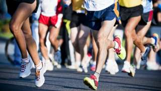 Runners in a road race