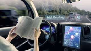 Artist's impression of driverless car in use