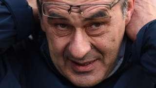 Close-up of Chelsea head coach Maurizio Sarri