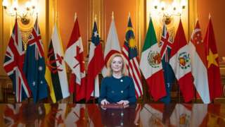 Liz Truss posing next to flags representing the nations in the trade deal