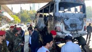 Scene of bus attack in Damascus (20/10/21)