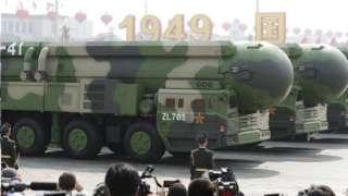 2019年在天安門廣場舉行的國慶閲兵中中國首次對外展示了東風-41分導多彈頭的洲際彈道導彈