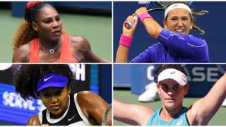 (clockwise from top left) Serena Williams, Victoria Azarenka, Jennifer Brady and Naomi Osaka