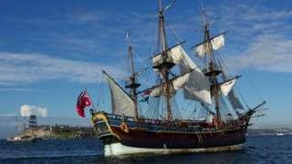 The replica of Captain Cook's ship HMS Endeavour arrives in Sydney Harbour