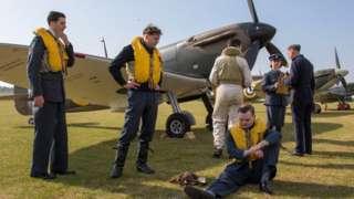 Aircrew at Duxford summer air show