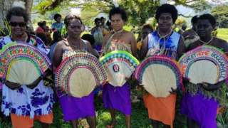 Photo taken on November 6, 2019 shows women in tribal colours attending a Bougainville reconciliation ceremony