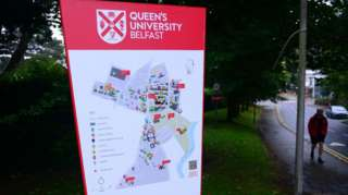Map of QUB campus outside Elms halls of residence on the Malone Road