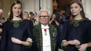Pierre Cardin with two models in 2016