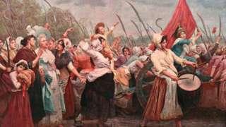 Los Dias de Octubre o La Marcha de Octubre, cuando las mujeres marcharon hasta el palacio de Versalles.