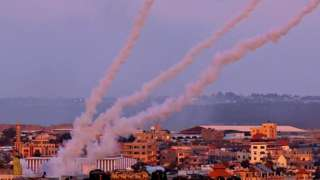 Rockets are launched towards Israel from the southern Gaza Strip, on May 17, 2021
