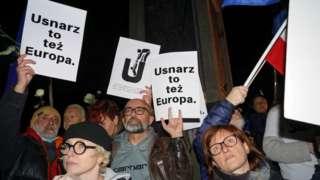 Pro-EU protesters in Poland