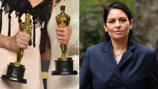 Oscar trophies and Priti Patel