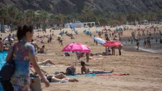 People on a Canary Islands beach