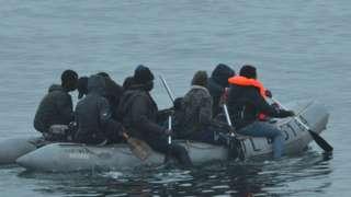 Migrants in dinghy