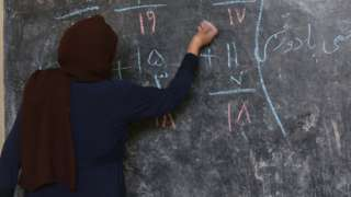 One teacher for work inside one Afghan classroom (file image)