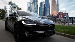 A Tesla Model X electric vehicle is shown in this picture illustration taken in Moscow, Russia
