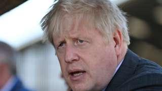 Boris Johnson in Wrexham, Wales, on Monday