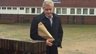 Paul McCann leaves South Cheshire Magistrates' Court