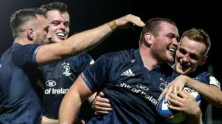 Leinster celebrate Jack McGrath's try