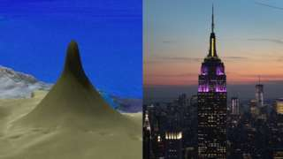 The massive reef and New York's Empire State Building side by side