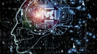 Graphic of a face in profile representing a computerised brain