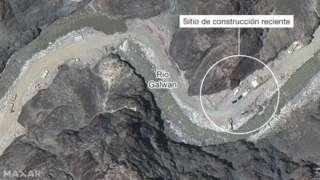 Imagen satelital de la construcción del Río Galwan.