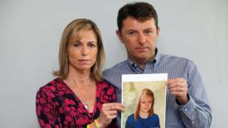 Kate and Gerry McCann pose with a computer generated image of how their missing daughter Madeleine in 2012