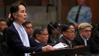 Myanmar's leader Aung San Suu Kyi speaks at the International Court of Justice in The Hague