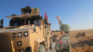 Turkish forces in Tal Abyad city, near Akcakale district ahead of the offensive