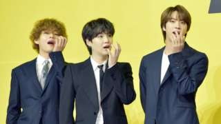 V, Suga, Jin of BTS attend a press conference for BTS's new digital single 'Butter' at Olympic Hall on 21 May 2021 in Seoul, South Korea.