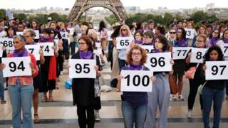 People gather in Paris during a demonstration by the Nous Toutes feminist organisation to denounce the 100th femicide of the year on 1 September 2019