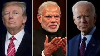 A composite image of US President Donald Trump, Indian Prime Minister Narendra Modi and US presidential candidate Joe Biden