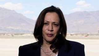 US Vice-President Kamala Harris at El Paso airport, 26 June 2021