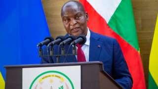 Perezida Touadera mu kiganiro n'abanyamakuru i Kigali kuwa kane tariki 05/08/2021