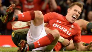 Liam Williams celebrates his try for Wales