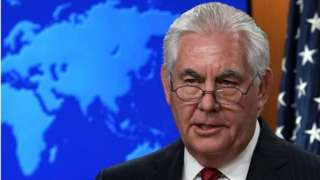Outgoing U.S. Secretary of State Rex Tillerson makes a statement on his departure from the State Department March 13, 2018 at the State Department in Washington, DC