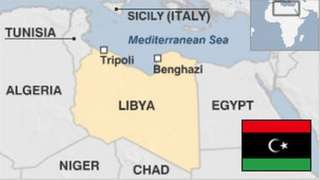 Map of Libya with pre-Gaddafi era flag