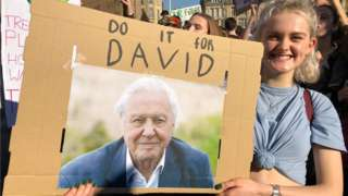 Masie with David Attenborough sign