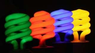 A series of coloured light bulbs