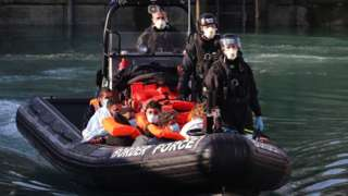 Migrants rescued by Border Force in Dover