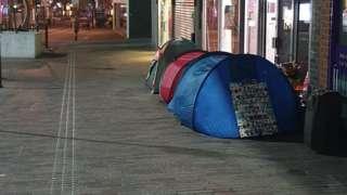 Tent of homeless people in Abington Street, Northampton