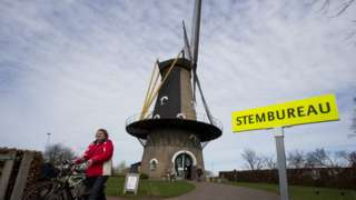 Windmill used as polling station in Osterwijk, Netherlands (15 March)
