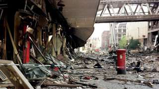 Aftermath scene near the bomb-damaged Arndale Centre