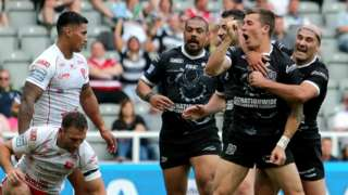 Hull celebrate the second of Jamie Shaul's two Magic Weekend derby tries
